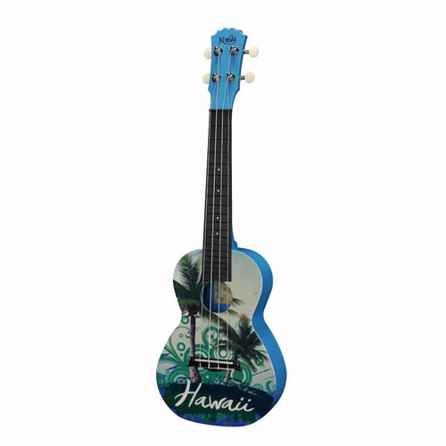 Entry-level concert uke with green Hawaii design.