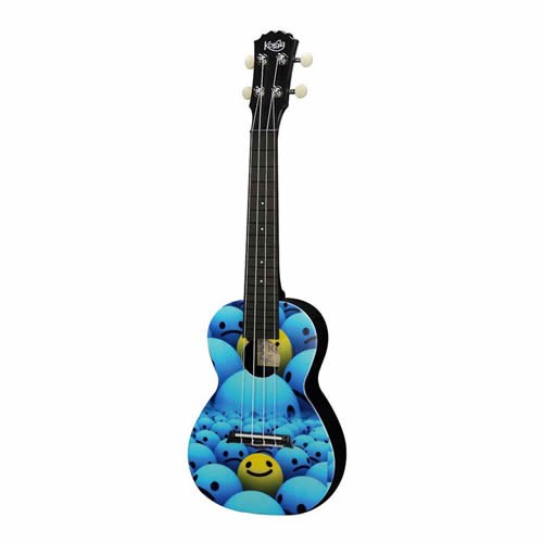 Beginner concert ukulele with Smileys graphic.