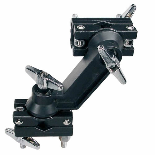 Drum clamp for cymbal arms/drum hardware with rotating clamp.