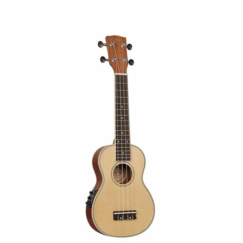 Lovely soprano electro-ukulele with solid top and fisman system.