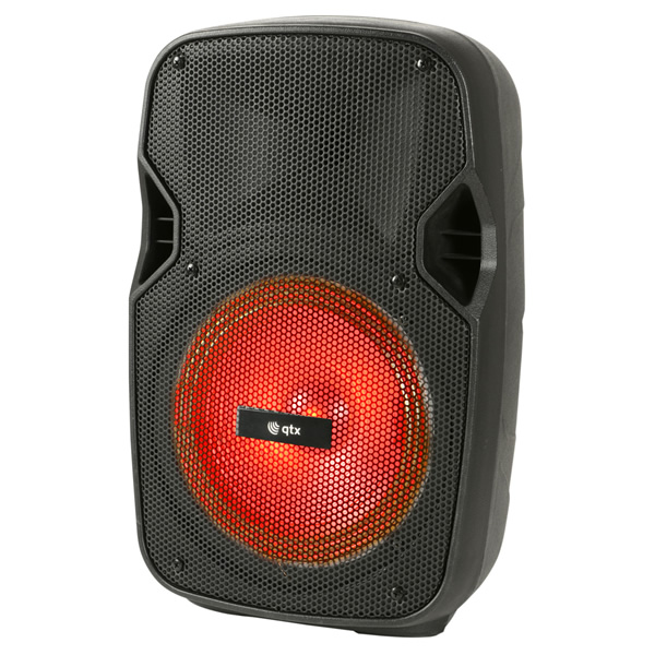 Portable speaker with handheld radio mic, bluetooth, USB/SD card playback and disco lights!<br />A great compact system, ideal for singing along to your favourite songs and for parties at home.<br />Inputs: Mic / Guitar 6.3mm jack, Aux 3.5mm jack<br /><br />