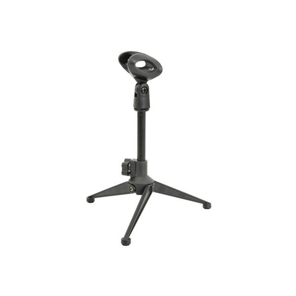 Small folding tripod microphone stand for desktop use.<br /><br />
