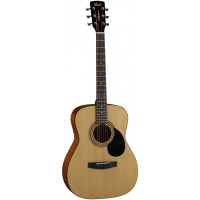 Folk-size acoustic guitar with a laminate spruce top, mahogany back & sides, 20 frets, die cast tuners and more.  Perfect for beginners.