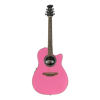 Pink electro-acoustic with cutaway and bowl back.