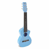 Lovely affordable guitarlele with plastic body in light blue.  Holds its tuning and sounds good too!