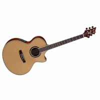 Awesome electro-acoustic baritone guitar with almost all-solid construction, undersaddle pickup and contact mic with blend option, and more...