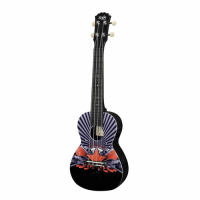 Beginner concert uke with Red Star graphic.