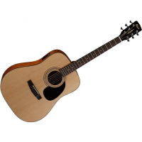 Quality electro-acoustic dreadnought guitar with laminate spruce top, mahogany back & sides, and Cort preamp.