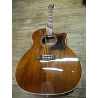 All-mahogany electro-acoustic guitar with solid top, Fishman preamp, and comfortable grand auditorium body shape.