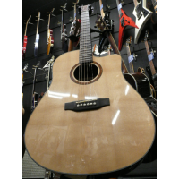 Electro-acoustic guitar with great specifications for the price, including a solid top, Grover tuners, bone nut & saddle, and a Fishman preamp.