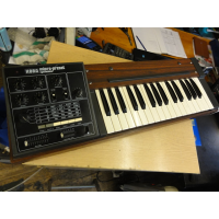 <p>Vintage analogue mono-synth from circa 1977.<br />32-note keyboard.</p><p>A rare example of this synth in very good condition and excellent working order.</p><p>Two synth patches offering Attack, Sustain, 'Traveller' (filter), Portamento, Modulation, Vibrato/Travel Vibrato, Modulation depth, Repeat/Random Repeat for the Modulation.<br />This little beast sounds a bit like the MS10!</p><p><br /></p>
