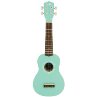 Soprano ukulele with linden top, back, sides and neck with 12 fret fingerboard. Finish is stained or solid colour and fitted with nylon strings, tuned via 4 geared machine heads.