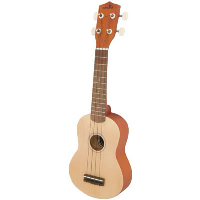 Natural finish Soprano ukulele with linden top, back, sides and neck with 12 fret fingerboard. Finish is stained or solid colour and fitted with nylon strings, tuned via 4 geared machine heads.