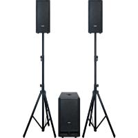 Compact, portable and powerful PA system<br />Includes 2 x satellite speakers, active subwoofer, speaker stands and speaker cables