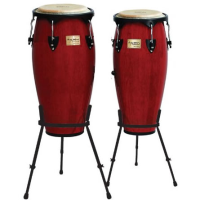 "Quality congas with 10 & 11"" diameter heads and basket stands."