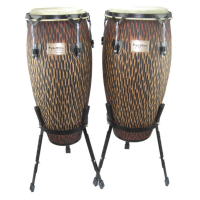 "Quality congas with 10 & 11"" diameter heads, basket stands and a lovely, orange chiseled finish."