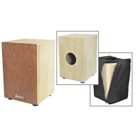 Lovely cajon with a maple body, French wood frontplate, and a padded gig bag.